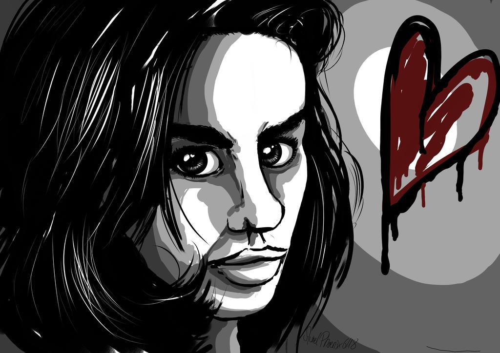 Broken Heart Pop Art-Portrait by AurielPhoenix