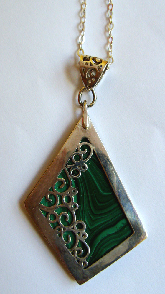Silver and Malachite Pendant by GeshaR