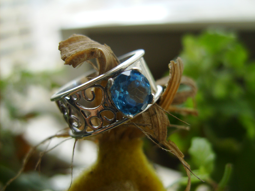 Filigree ring with Swiss Blue Topaz by GeshaR
