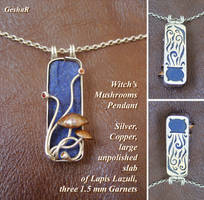 Witch's Mushrooms pendant by GeshaR