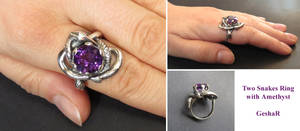 Two Snakes Ring with Amethyst