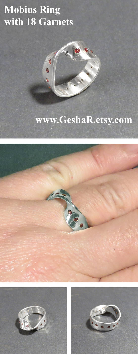 Mobius Strip Ring with Garnets