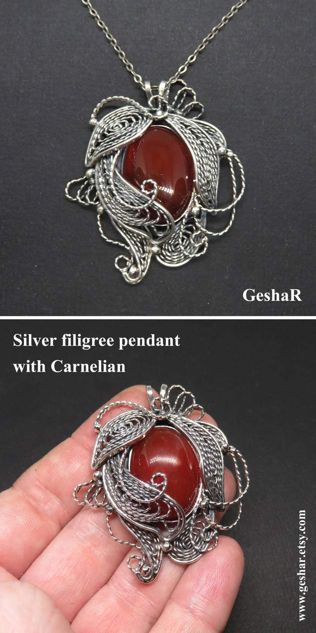 Large Silver Filigree Pendant with Carnelian