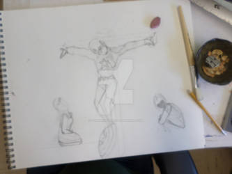 Crucifixion of Captain America work in progress