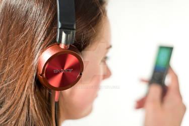 Headphones in use