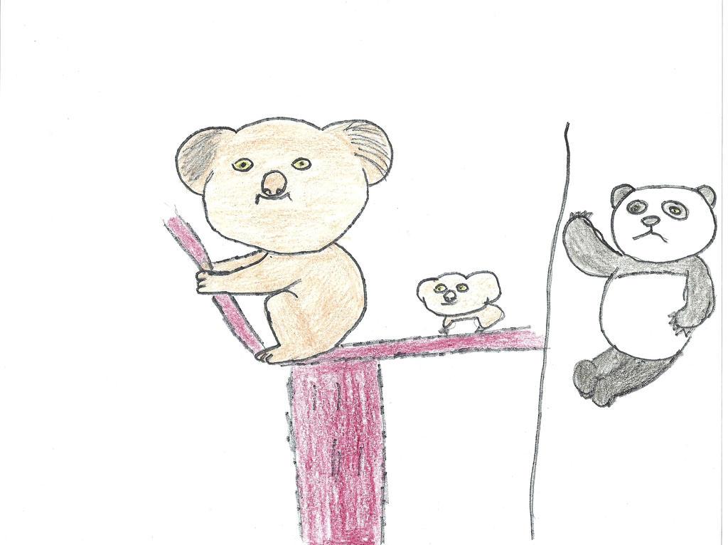 koala and baby and panda bear by darkc3po