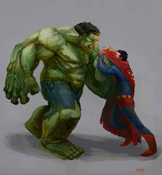 Hulk vs SUperman by KZBulat