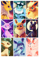 Eeveelutions [prints available!] by OrcaOwl
