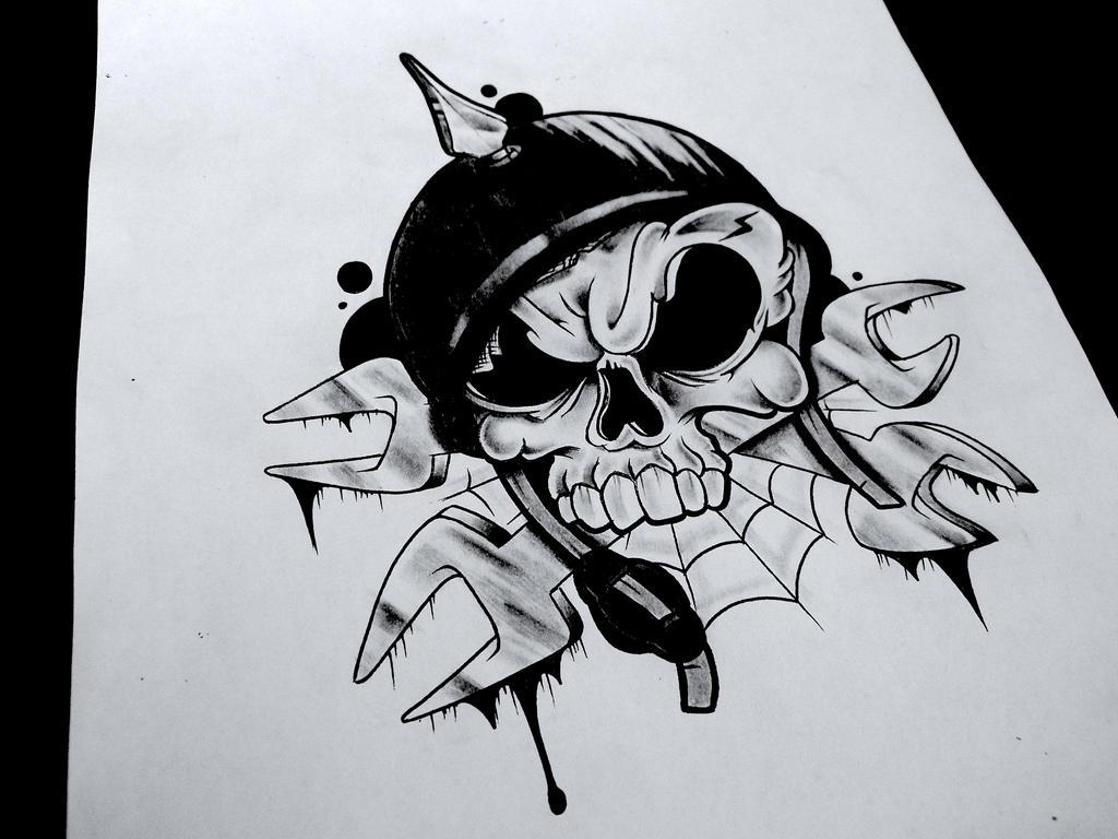 biker skull by uzi-street