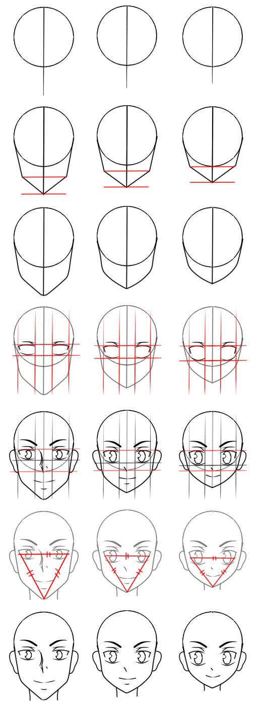 how to draw manga head