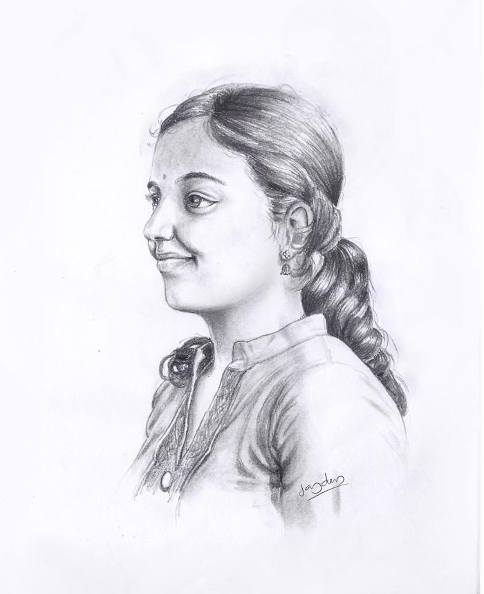 Kerala girl sketch jaydevanimator by jaydevanimator
