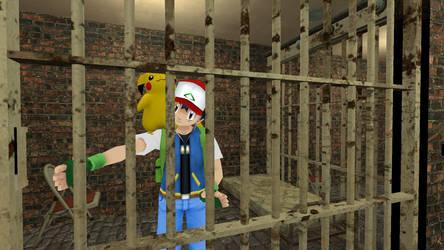 Ash Ketchum and Pikachu in jail