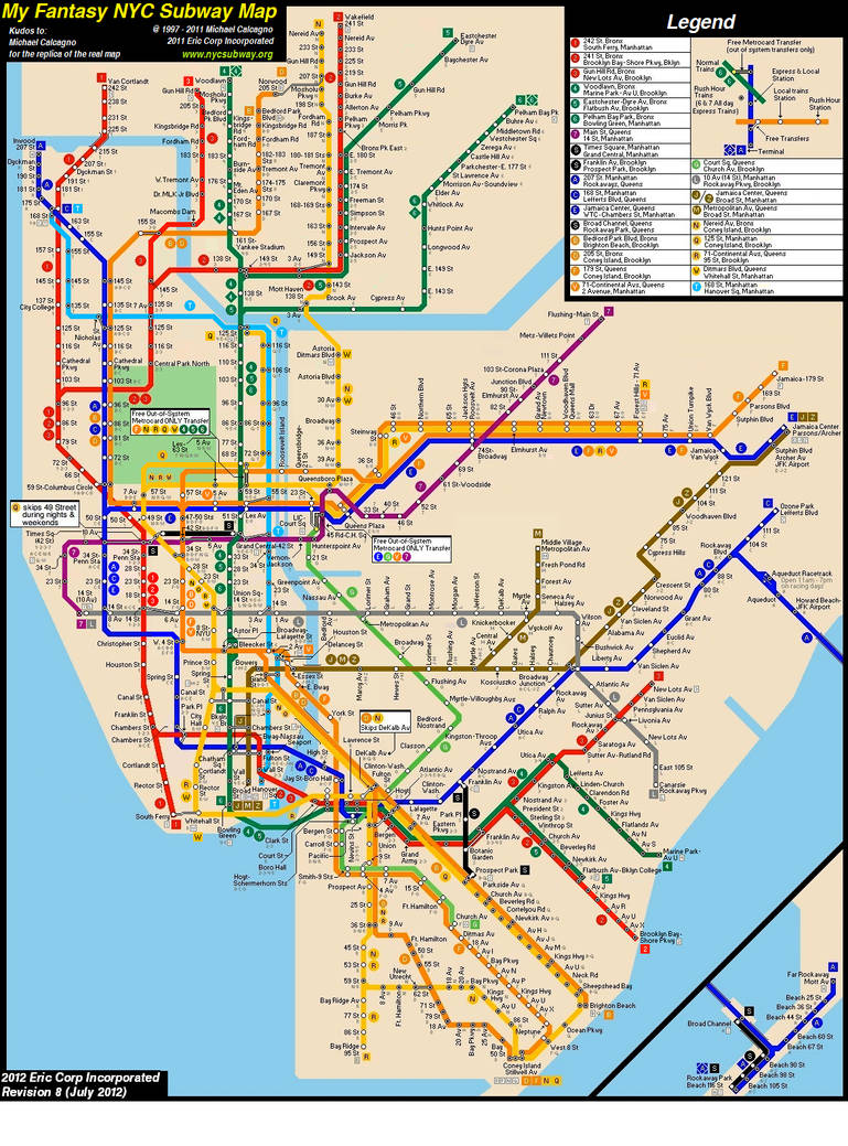 Utica Ave Station Subway Map.Fantasy Nyc Subway Map Revision 8 By Ecinc2xxx On Deviantart