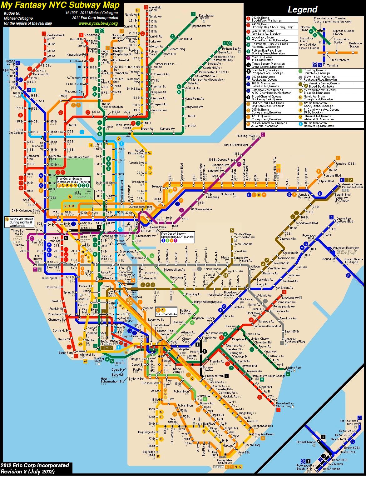 Nyc Subway Map F Lne.Fantasy Nyc Subway Map Revision 8 By Ecinc2xxx On Deviantart