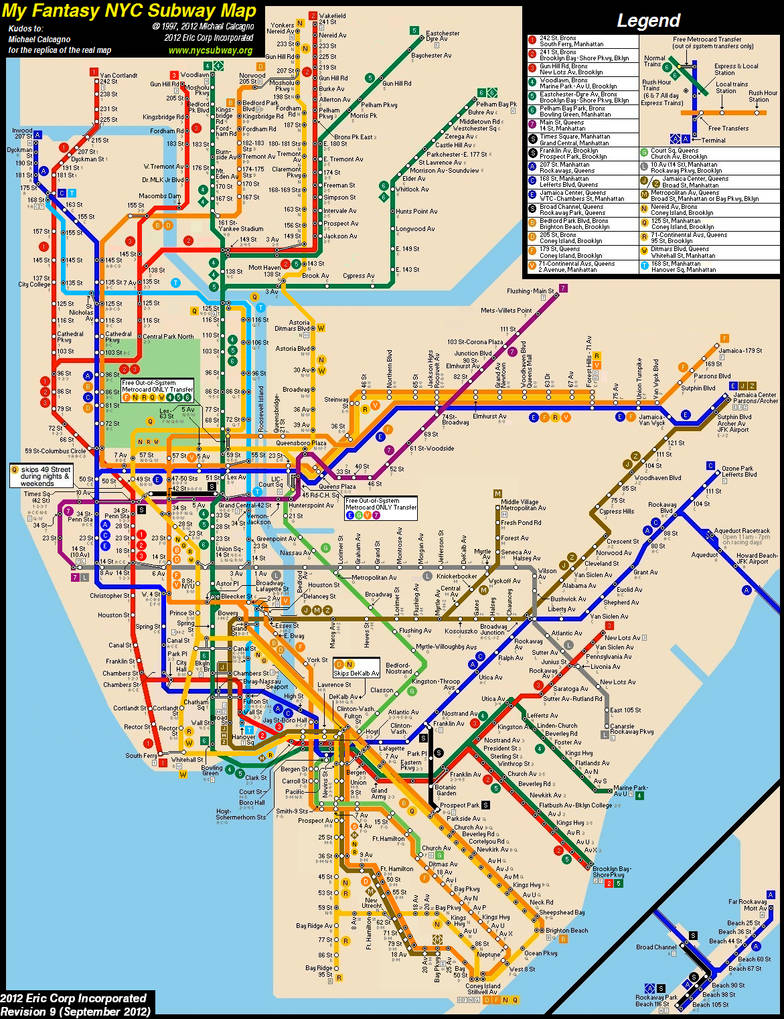 How To Purchase A Good New York City Subway Map.New York City Subway Fantasy Map Revision 9 By Ecinc2xxx On Deviantart