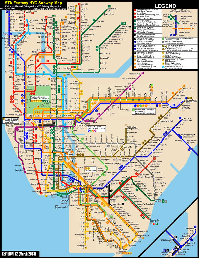Nrw Train Subway Map.New York City Subway Fantasy Map Revision 12 By Ecinc2xxx On