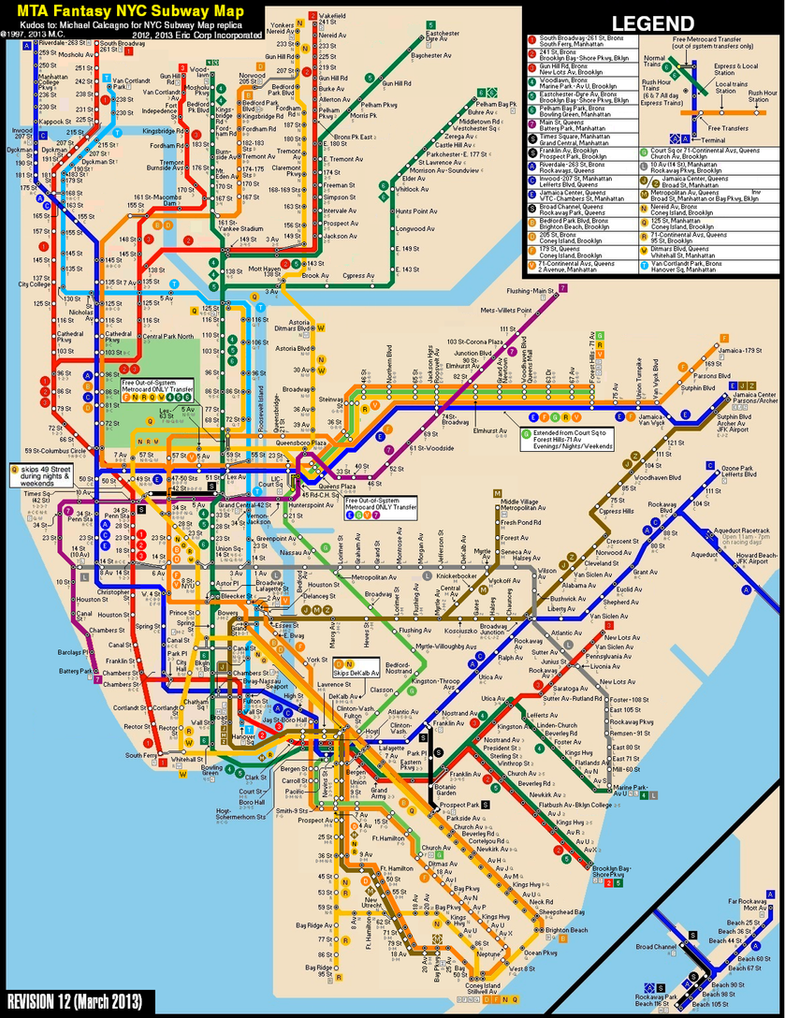 new york city subway fantasy map revision 12 by ecinc2xxx