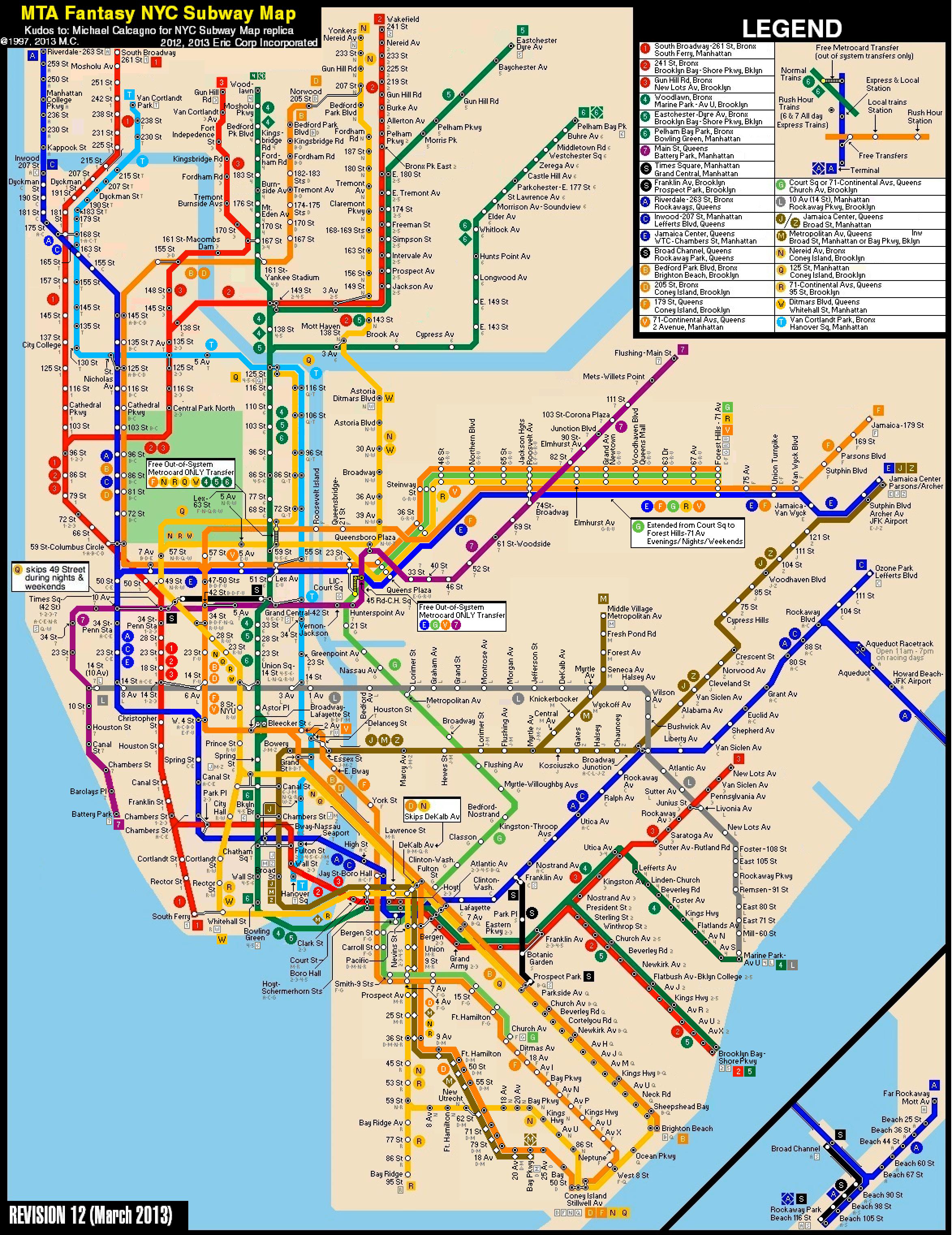 New York City Subway Fantasy Map Revision 12 By