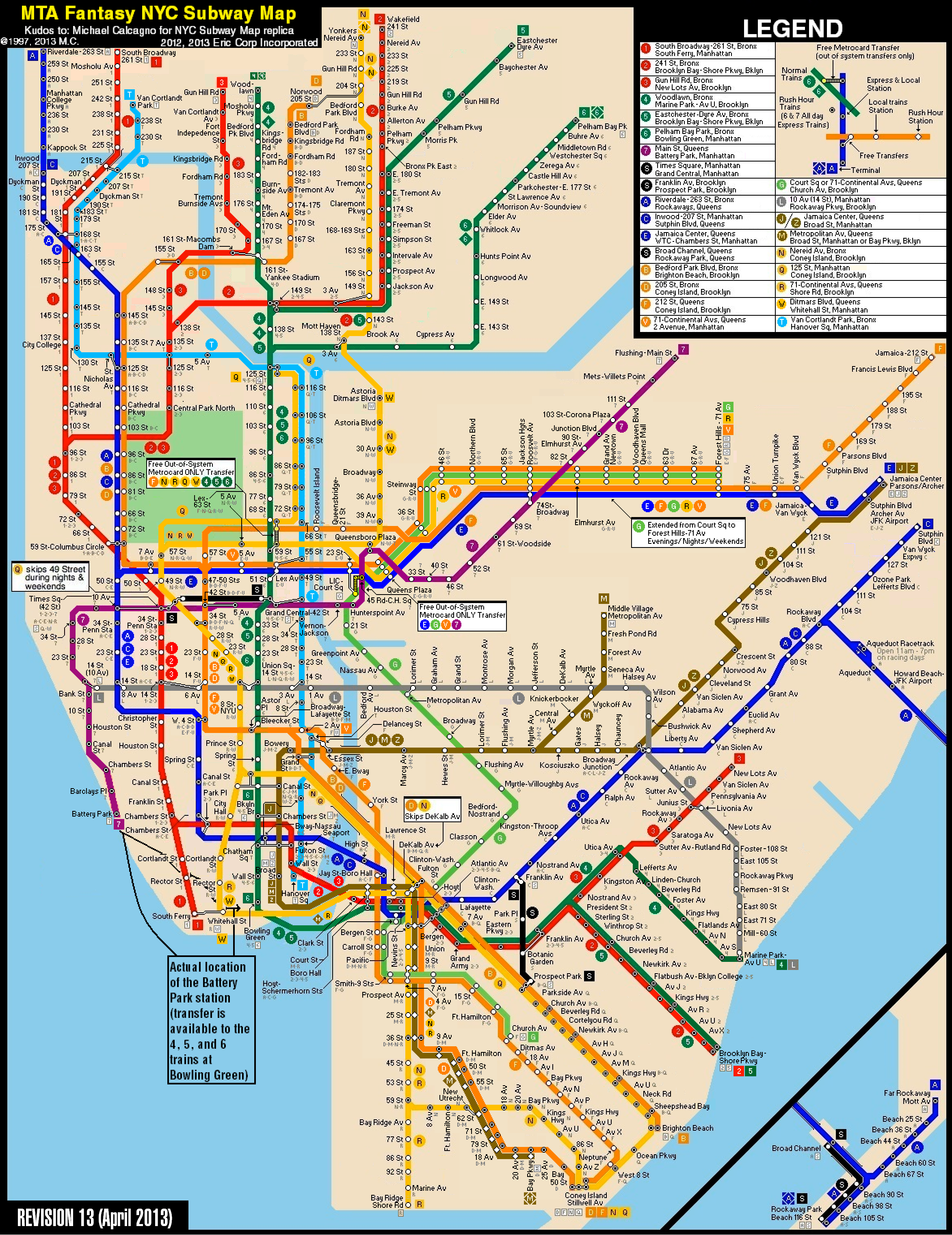 New York City Subway Fantasy Map (Revision 13) by ECInc2XXX on