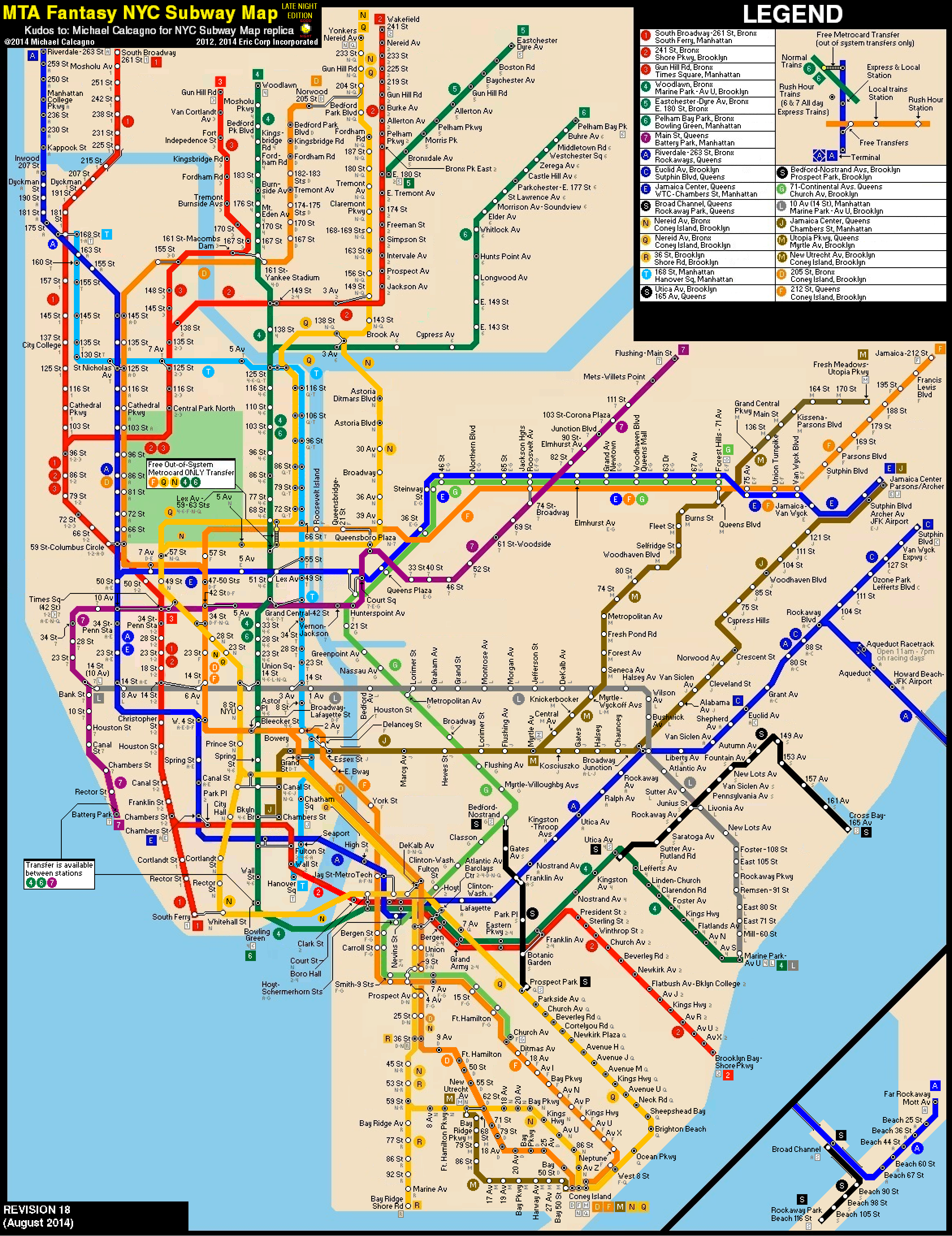 Alternative Nyc Subway Map.Nyc Subway Fantasy Map Revision 18 Late Nights By Ecinc2xxx On
