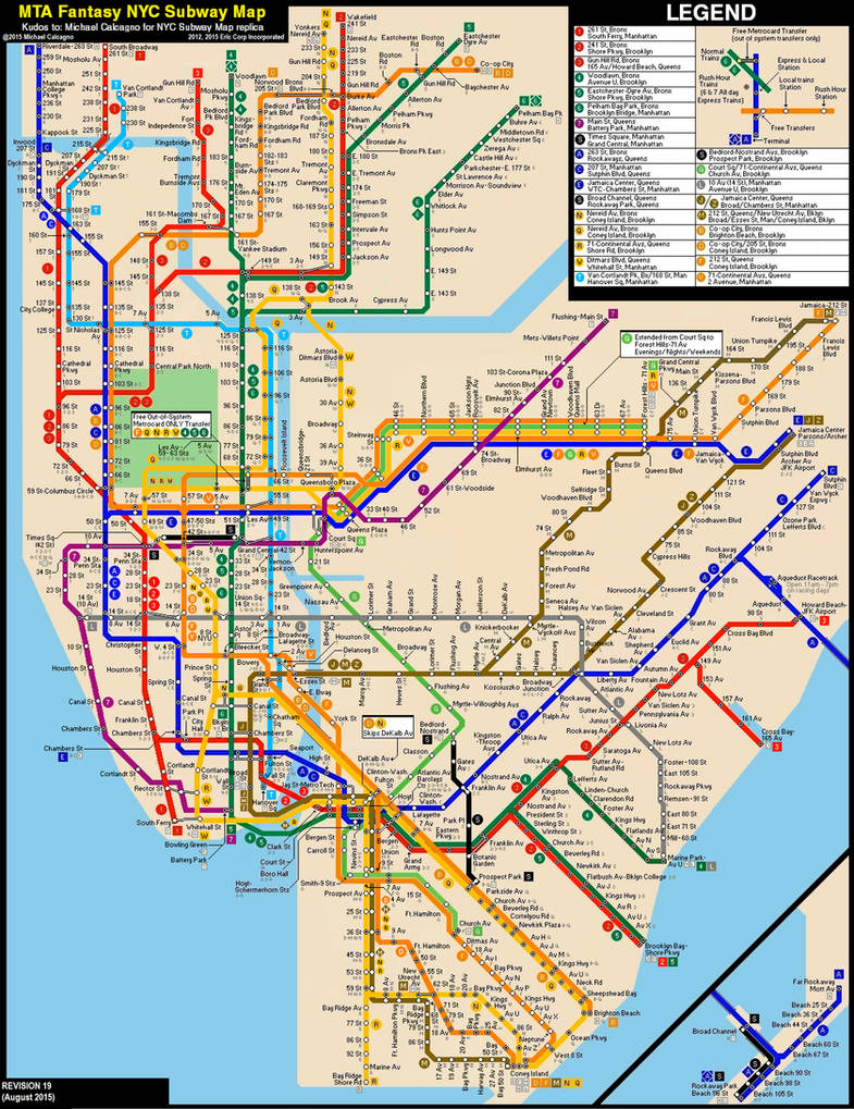 Nyc Subway Map 1997.New York City Subway Fantasy Map Revision 19 By Ecinc2xxx On