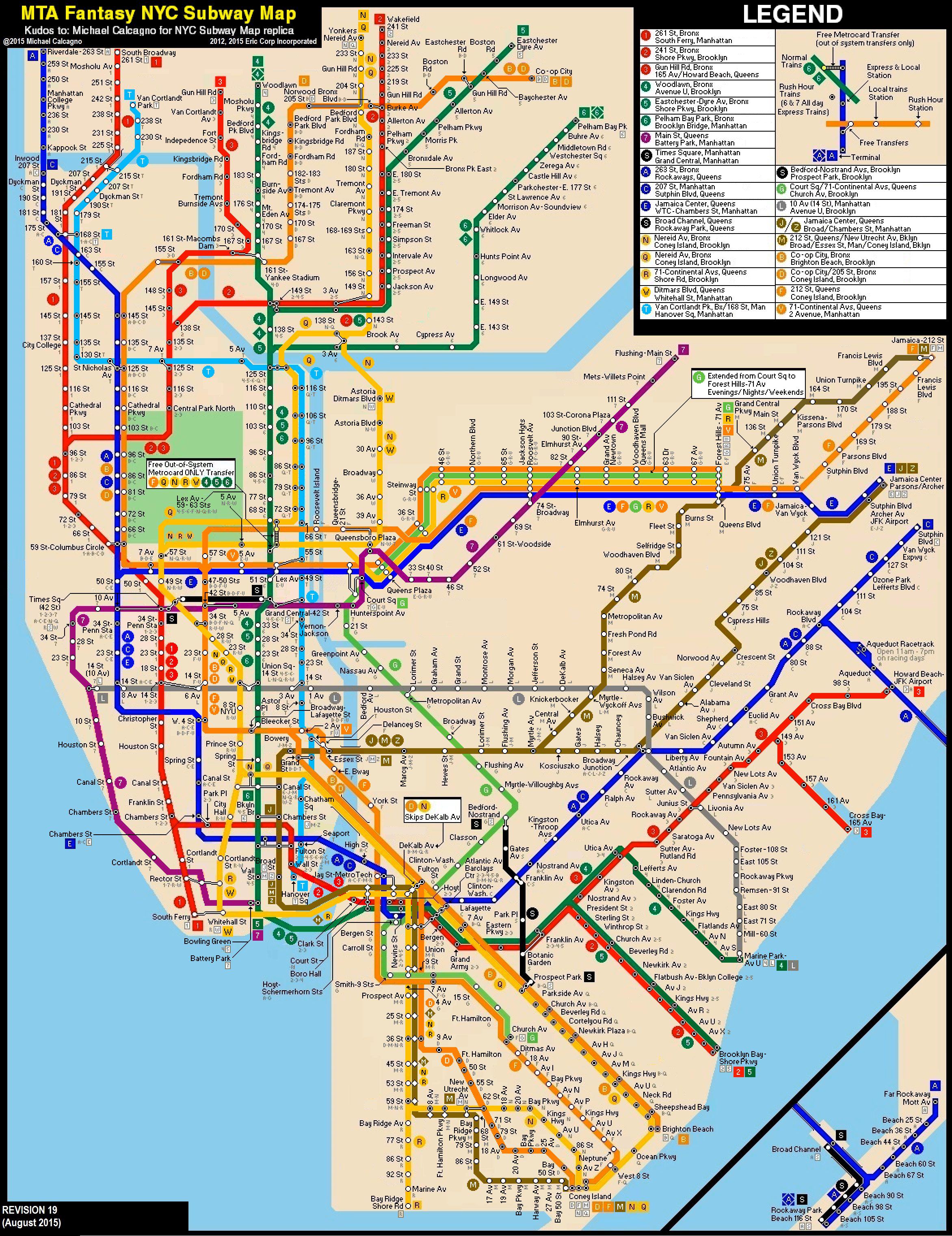 New York Subway Map Future.New York City Subway Fantasy Map Revision 19 By Ecinc2xxx On