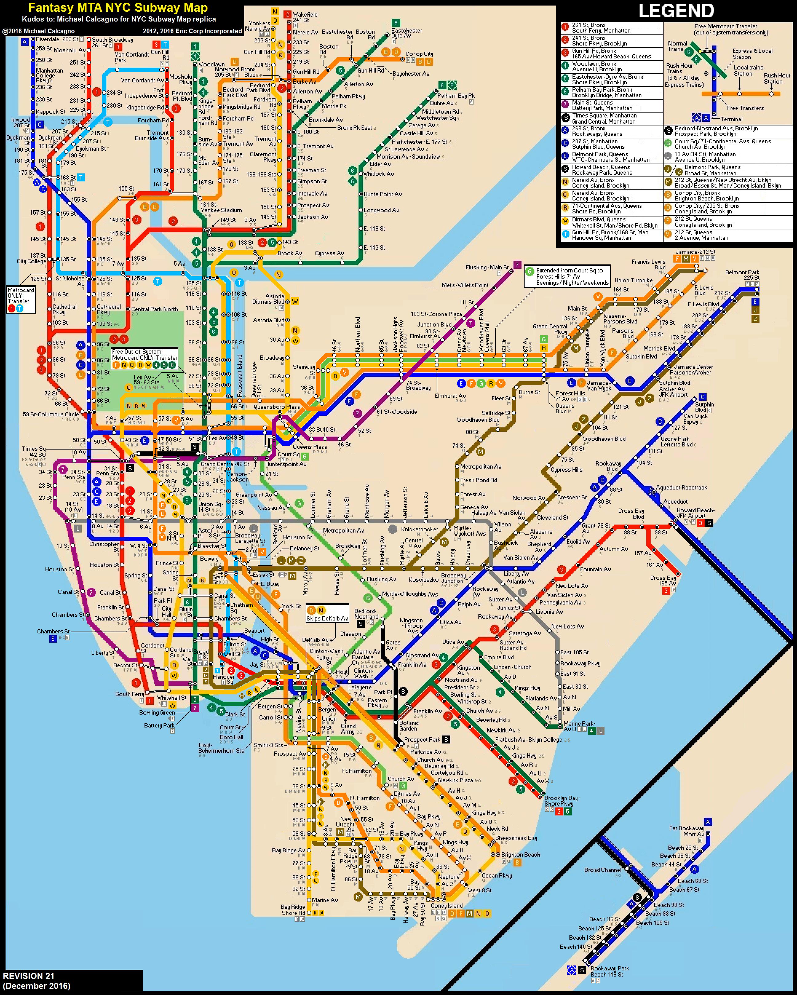 New Nyc Subway Map 2017.Nyc Subway Fantasy Map Revision 21 By Ecinc2xxx On Deviantart