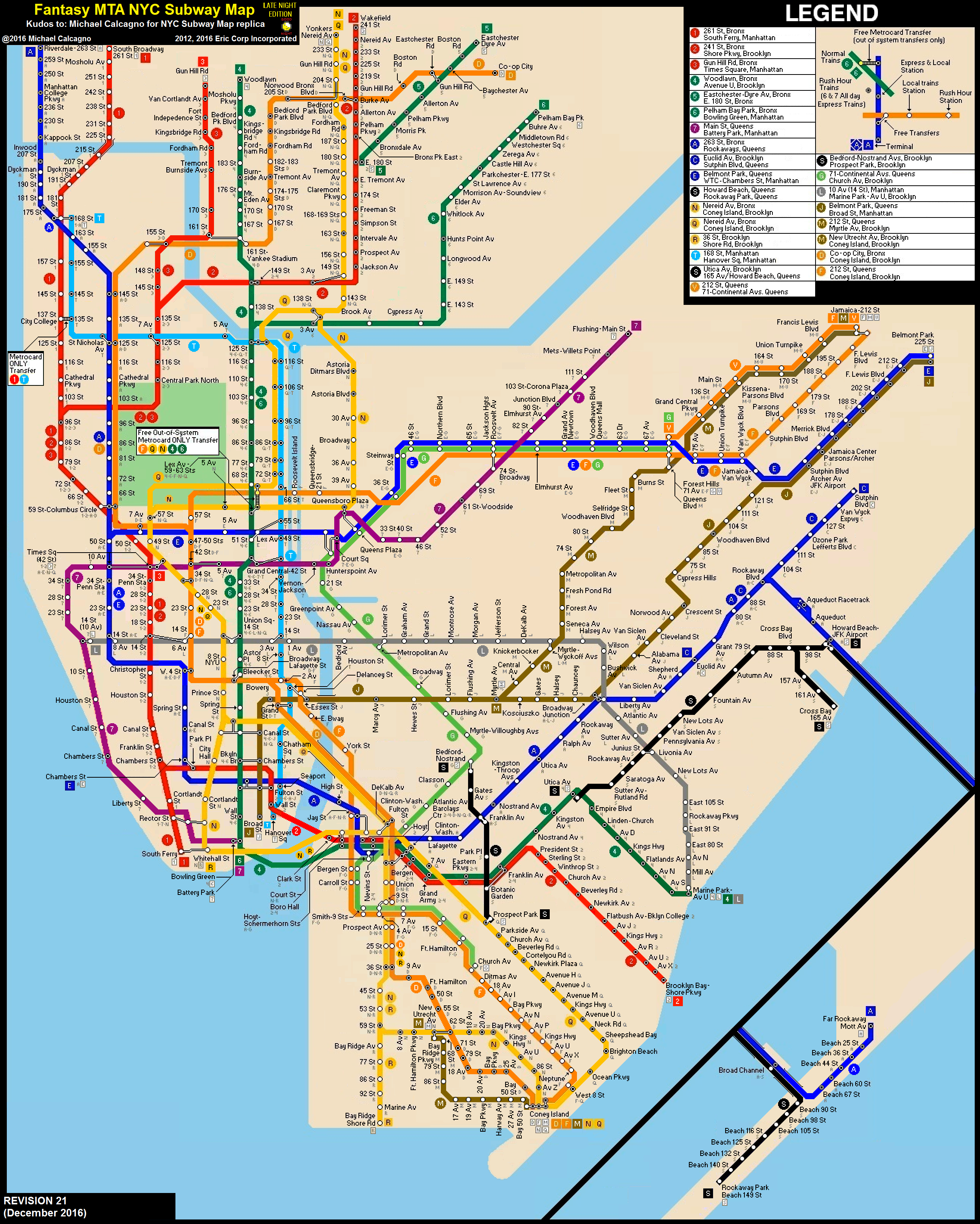 E Subway Map.Nyc Subway Fantasy Map Revision 21 Late Nights By Ecinc2xxx On