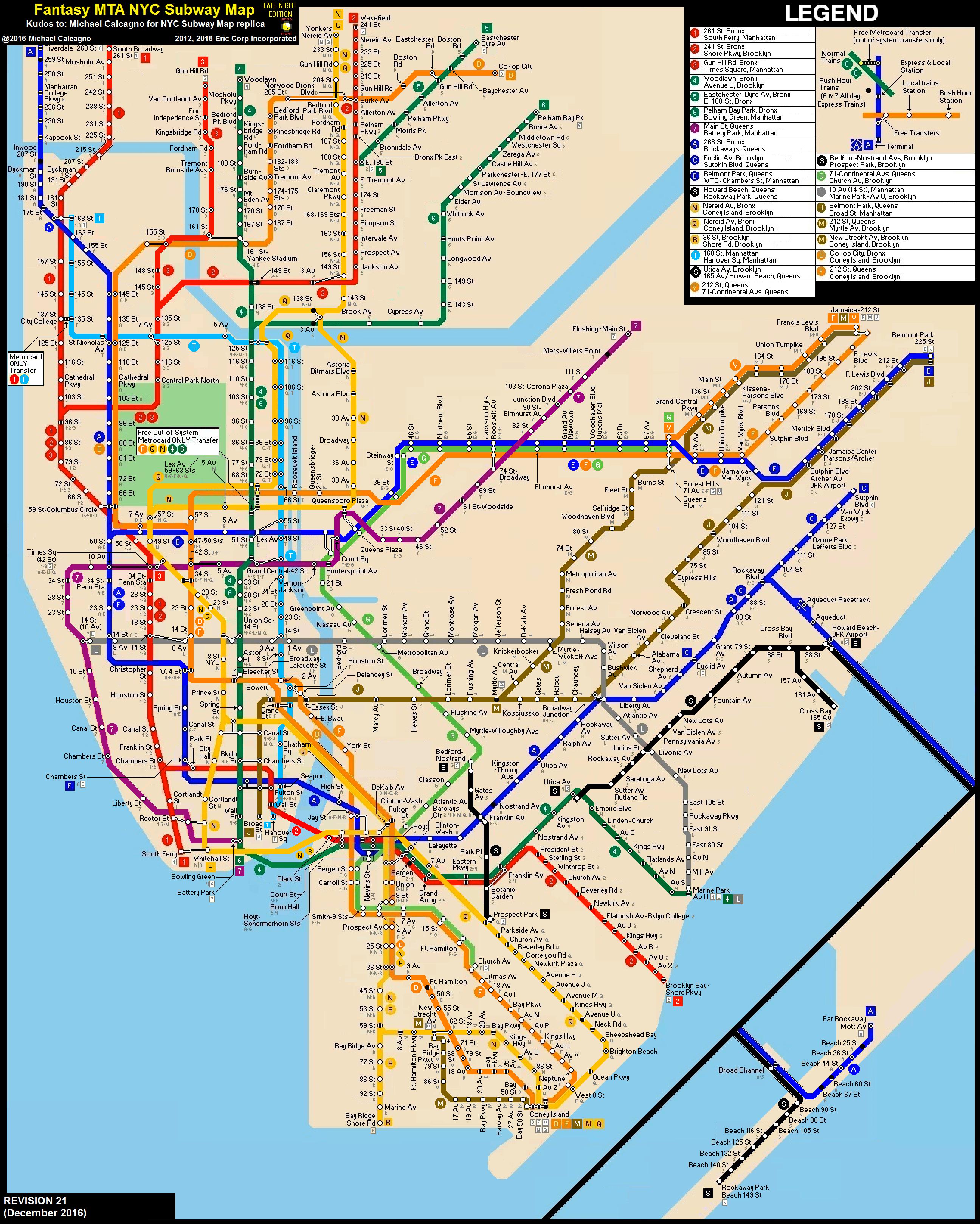 Mta Org Subway Map.Nyc Subway Fantasy Map Revision 21 Late Nights By Ecinc2xxx On