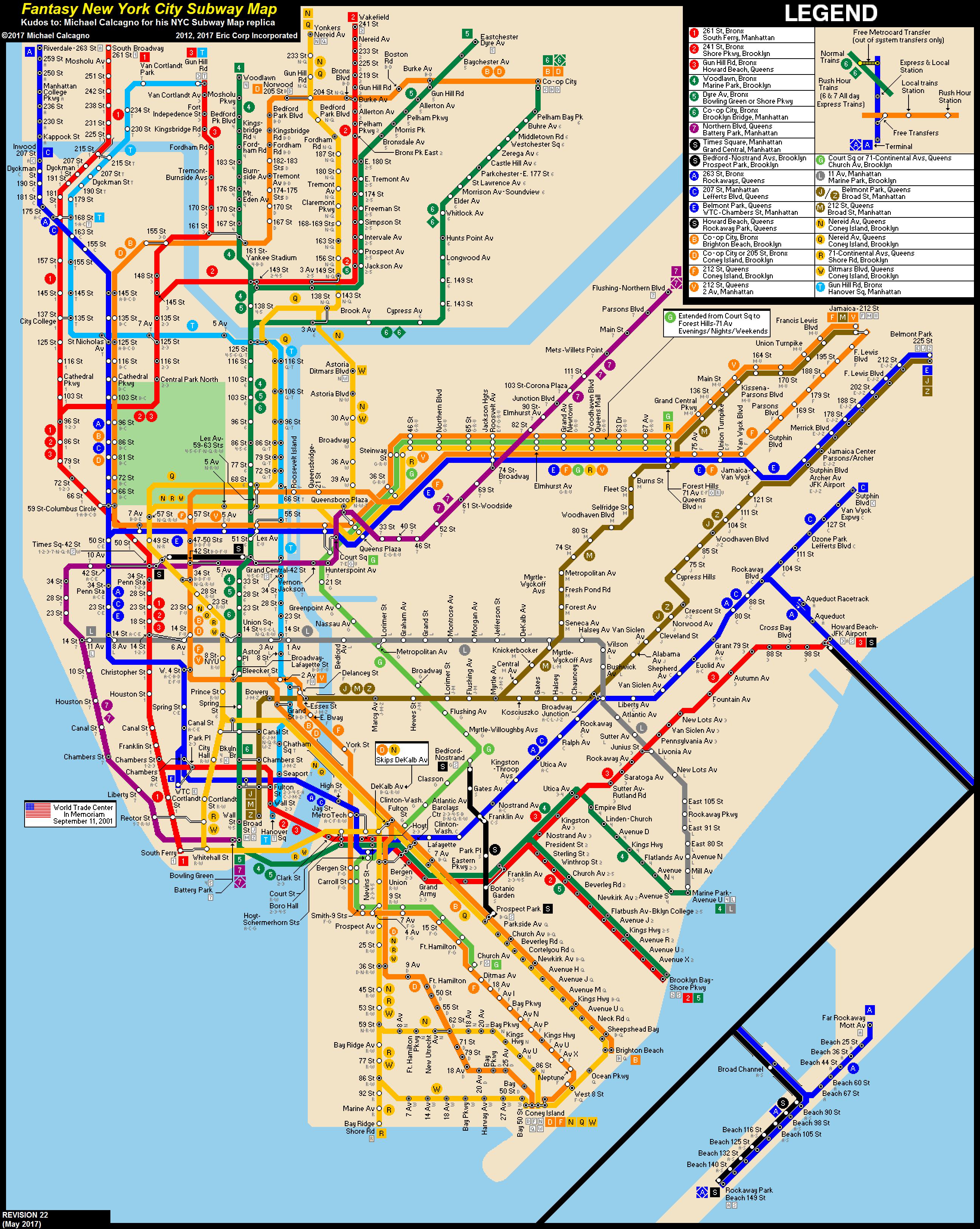 subway map f train Nyc Subway Fantasy Map Revision 22 By Ecinc2xxx On Deviantart