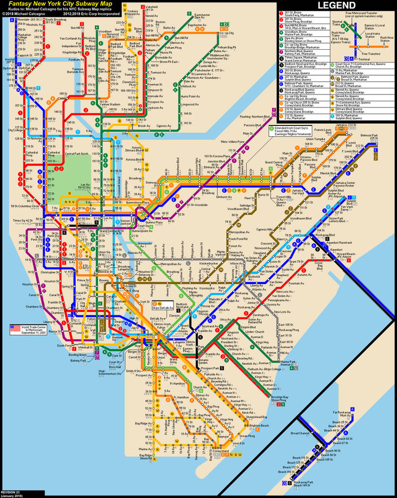 Manhattan Subway Map 2018.Nyc Subway Fantasy Map Revision 23 By Ecinc2xxx On Deviantart