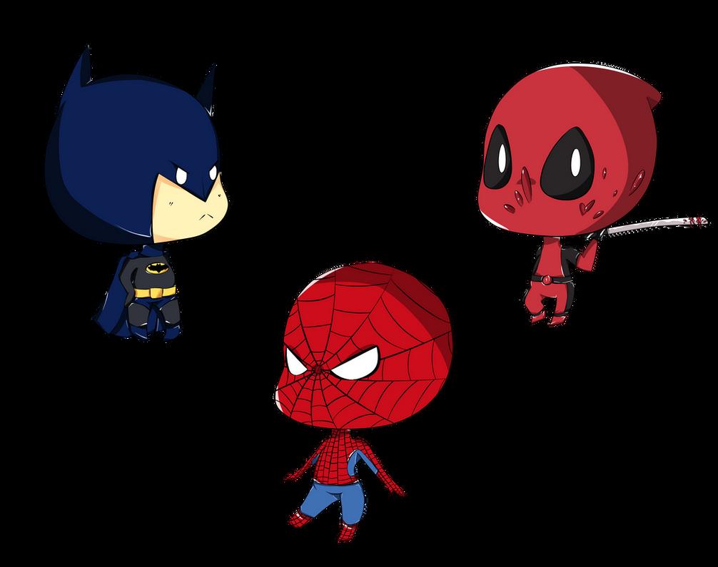 Batman Deadpool Spiderman By Tenshi Go On Dibujos Para Colorear