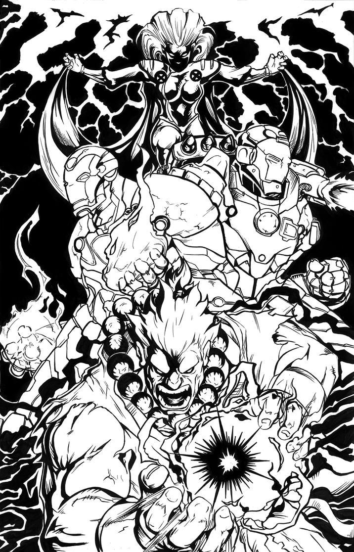 Line Art Marvel : Marvel vs capcom poster inks by aentheartist on deviantart