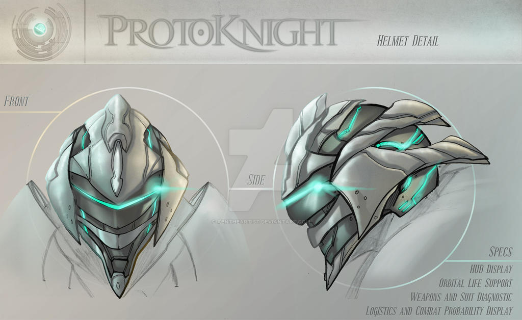 Concept - Protoknight, Helmet by AenTheArtist