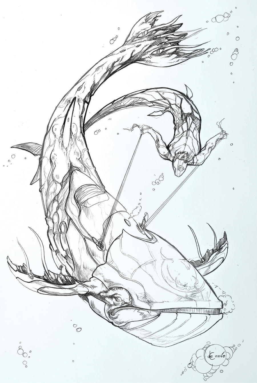 Sketchbook - Biowhale And Merdude by AenTheArtist