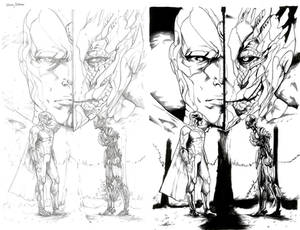 Commission - Vision and Ultron - Pencils and Inks