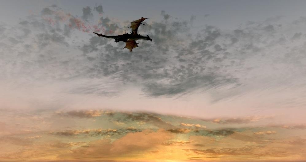 Odahviing In Sunrise by LemonicDemon