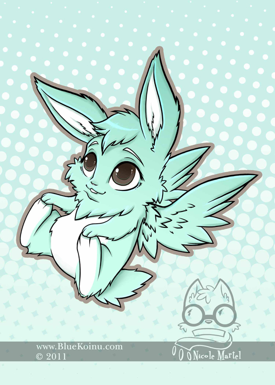 Flying Mint Bunny by bluekoinu