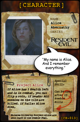 Alice Abernathy CARD by evilwaluigi