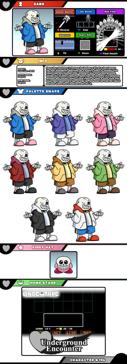 My moveset predictions for Sans from Undertale - Super Smash Bros