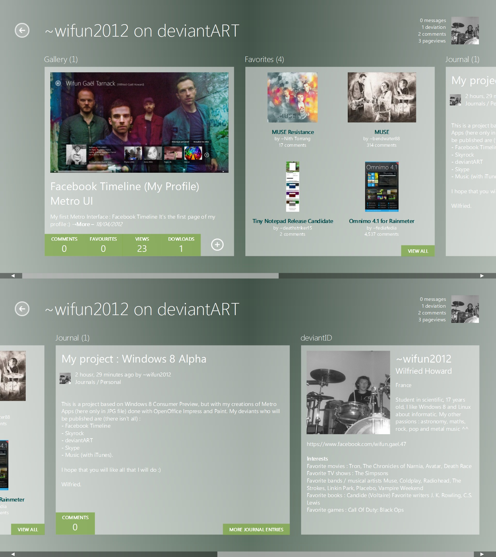 deviantART Profile Metro UI by wifun2012