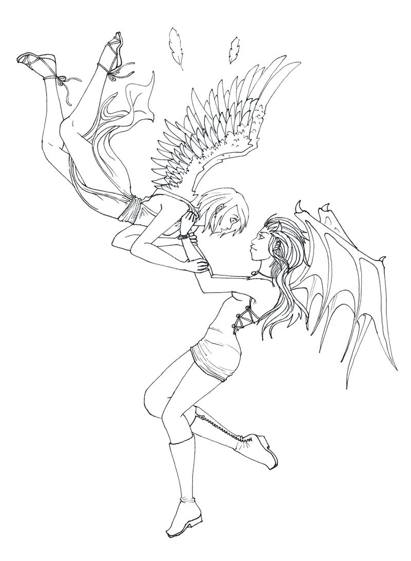Line Art Vs No Line Art : Angel and demon by crimsonpearls on deviantart