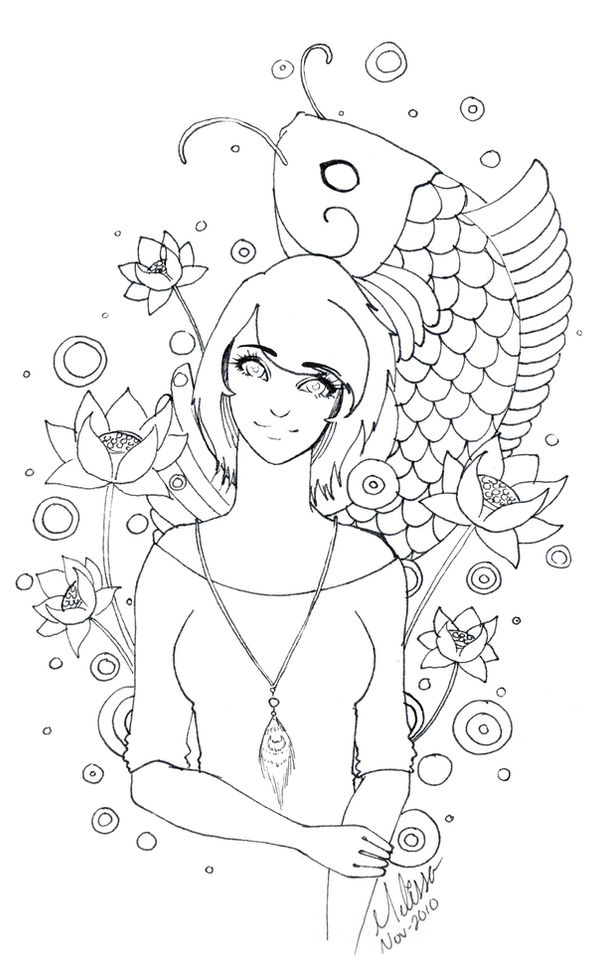 Girl with Koi by CrimsonPearls