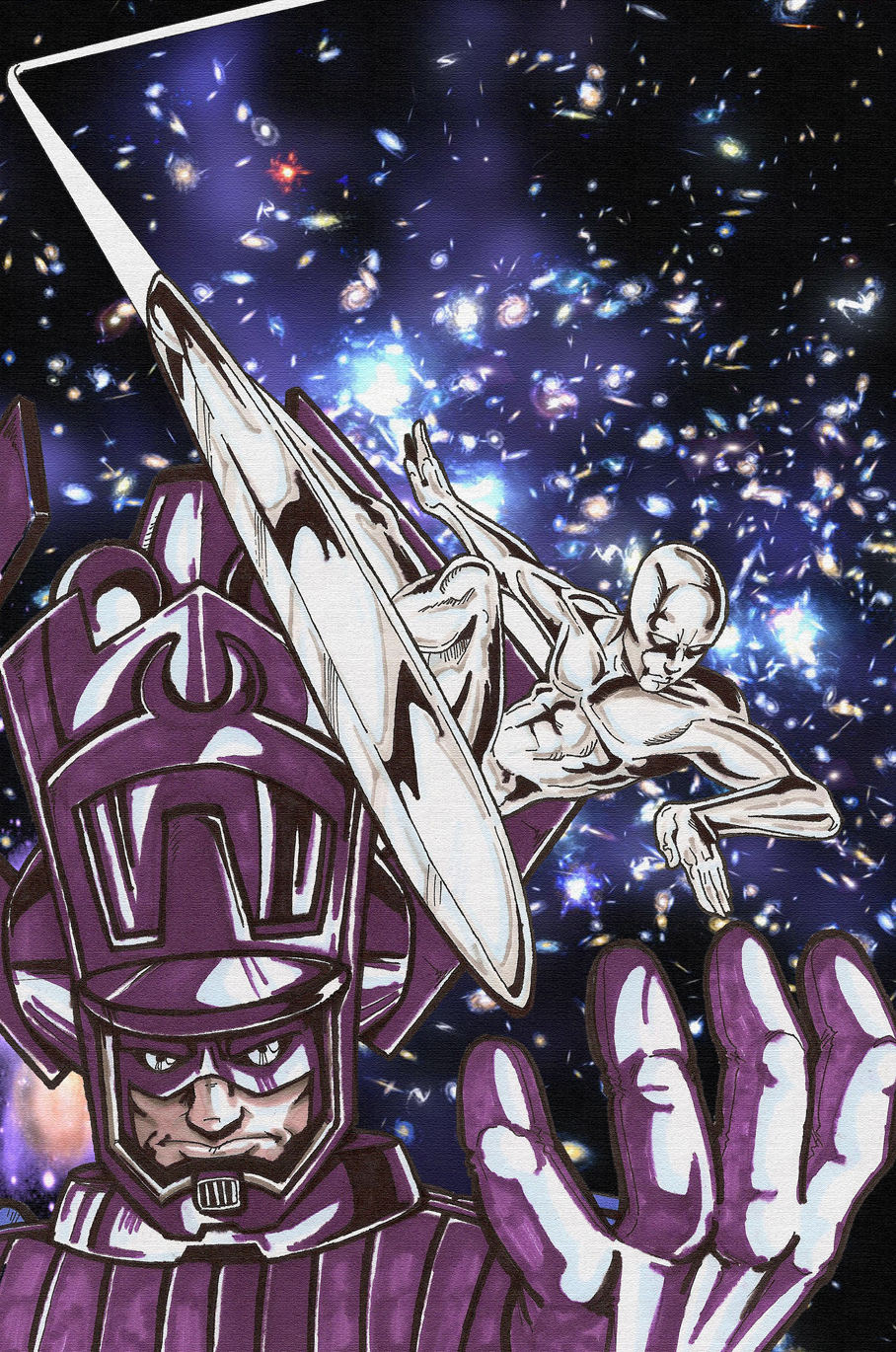 Silver Surfer And Galactus by secowankenobi