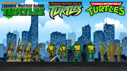 TMNT - 1987, 2003 and 2012 Turtles Meet Fan Poster by RaidenRaider