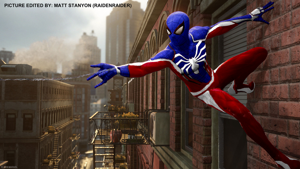Spider-Man PS4 - Fan Poster (Cap America Suit) by RaidenRaider