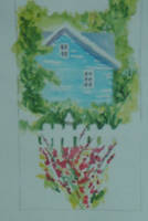 House with white fence,flowers by Lisa99