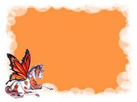 Orange butterfly horse by Lisa99