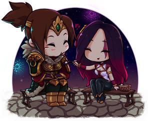 Chibis Katarina x Garen (Lunar Revel cuteness)