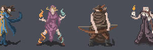 Main characters for pixel art game